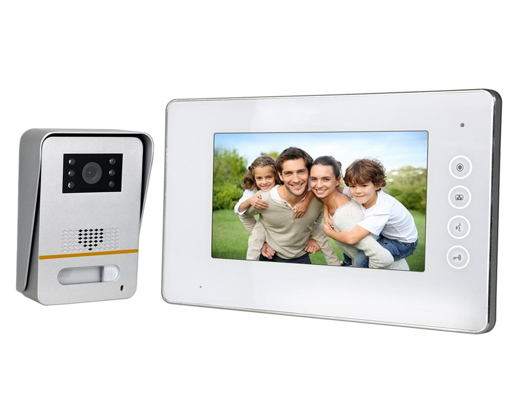 7″ White LED Intercom Kit with Metal Surface Mount Camera   Platinum