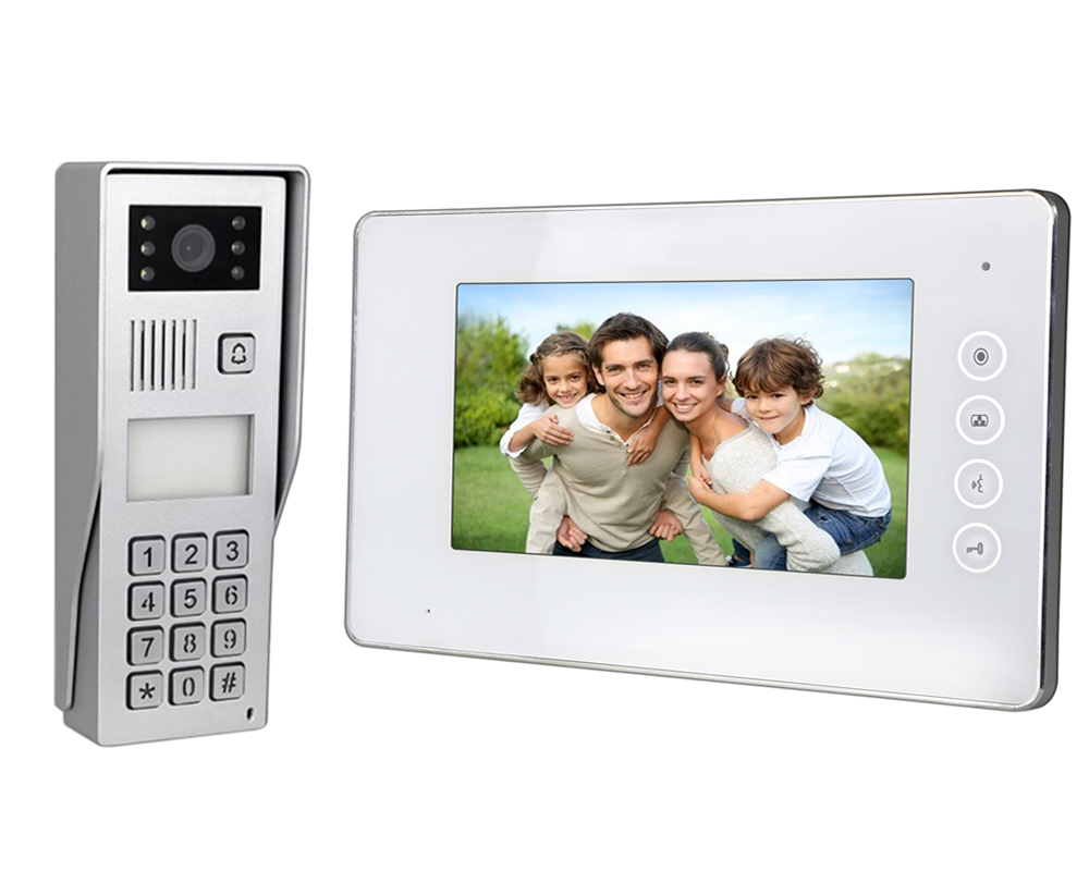 7″ White LED  Intercom Kit with Surface Mount Camera + Access Control + RFID Reader | Platinum