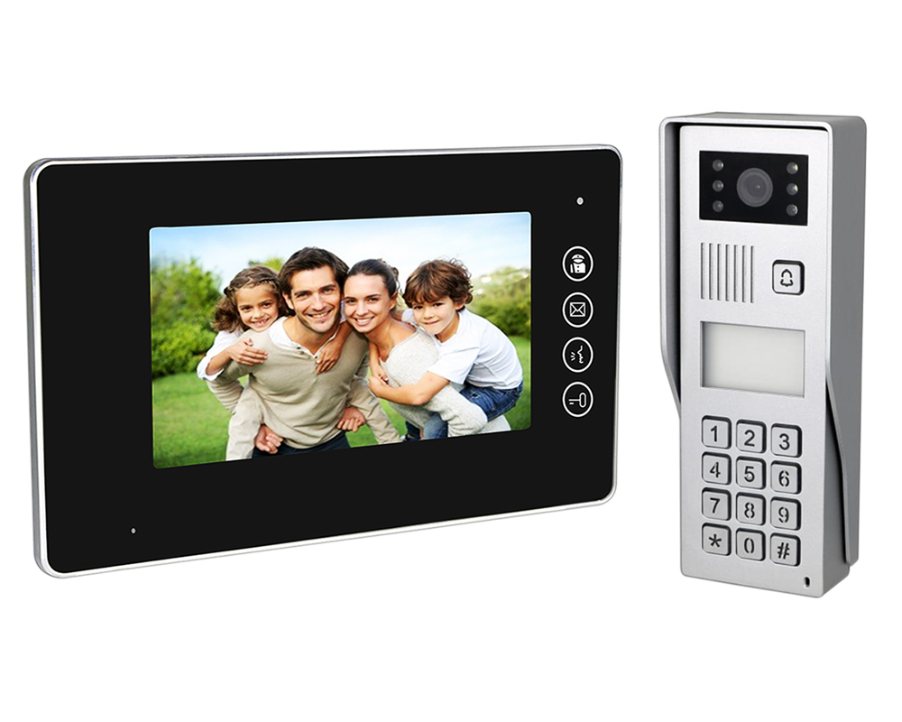 7″ Black LED Intercom Kit with Surface Mount Camera + Access Control + RFID Reader | Platinum
