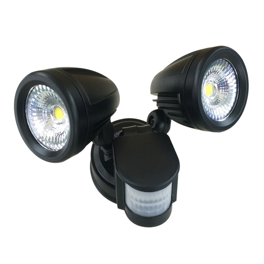 26W Tri Color LED Double Spotlight with Rotable Double-head and 180 Degree Sensor IP65