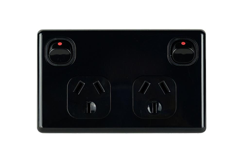 Double Power Point , Double Pole, 10A | Black (Suits Caravan RV Trailer Construction)