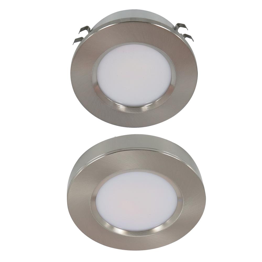3W Tri Color Satin Nickel Round LED Cabinet Light | Surface & Flush Mount