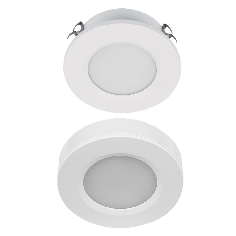 3W Tri Color White Round LED Cabinet Light | Surface & Flush Mount