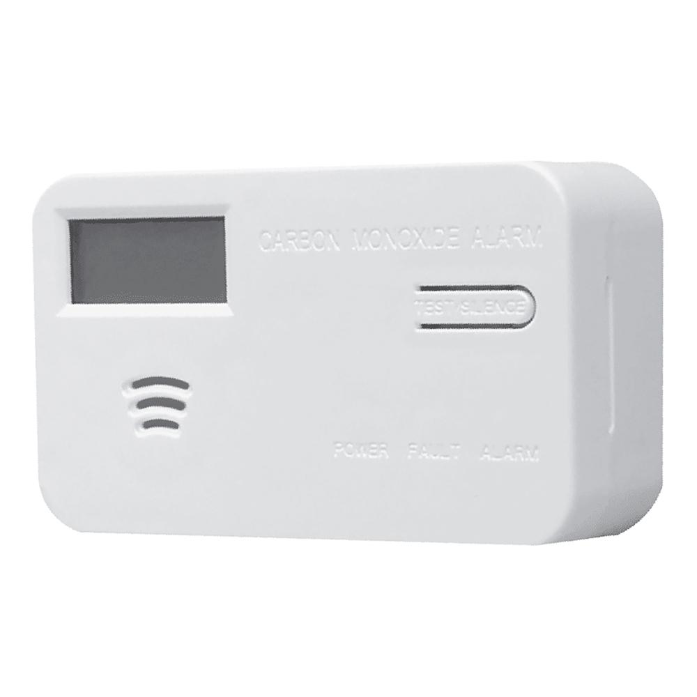 Red Carbon Monoxide Alarm, Photoelectric, LED Display, 9V Battery