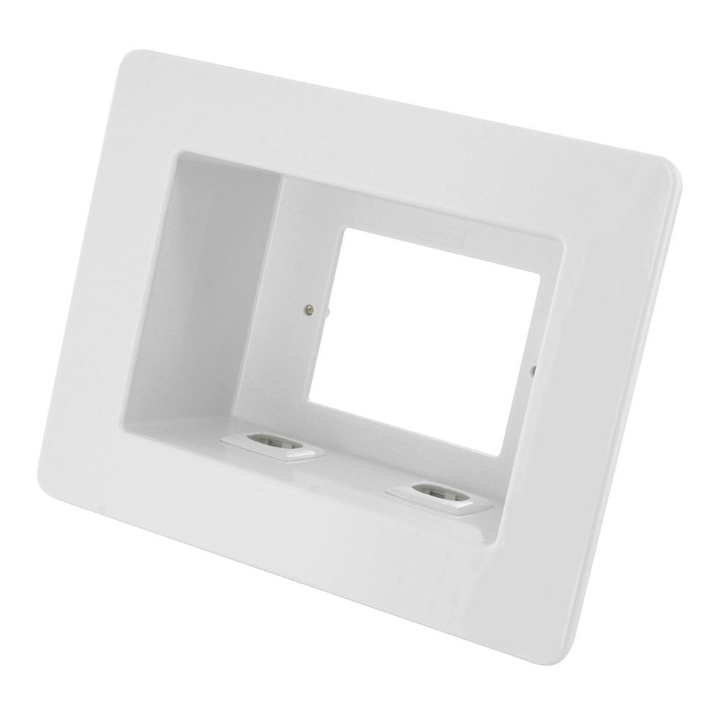 Recessed Wall Outlet Box for Power & AV Outlets + 2 AV Insert Connections