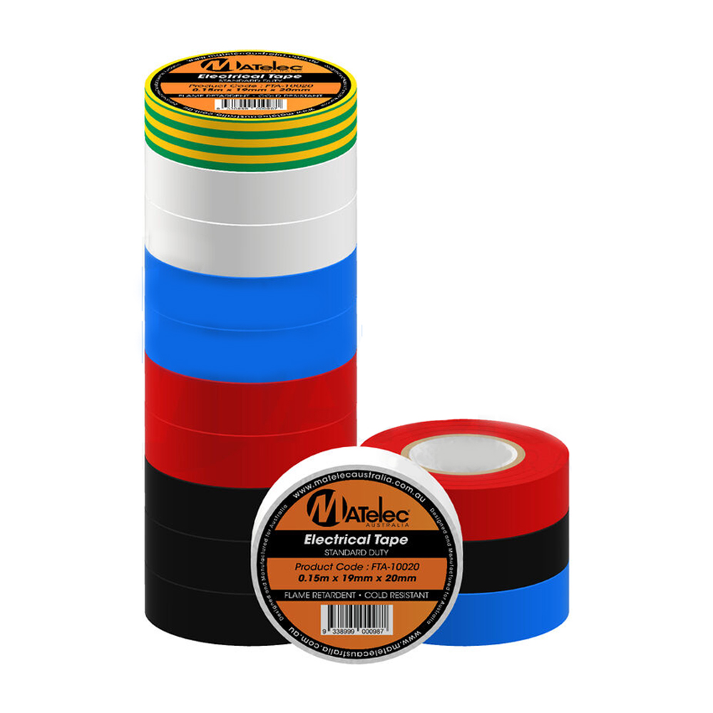 Matelec Electrical Insulation  Tape PVC Mix.PK 10PCS