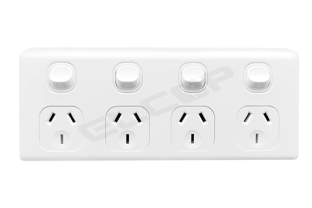 4 Gang Power Point | White | C2 Series