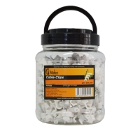 10mm 1.5mm² - 2 core+E Flat White Cable Clips with Nails (Jars of 500pcs) | Matelec
