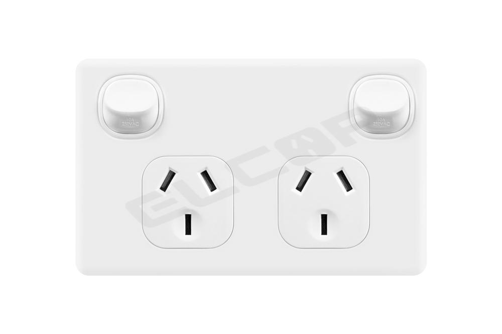 Double Power Point , Double Pole, 10A | White (Suits Caravan RV Trailer Construction)