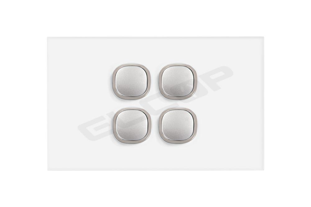 4 Gang Glass Push Button Blue LED Switch | Sapphire Series