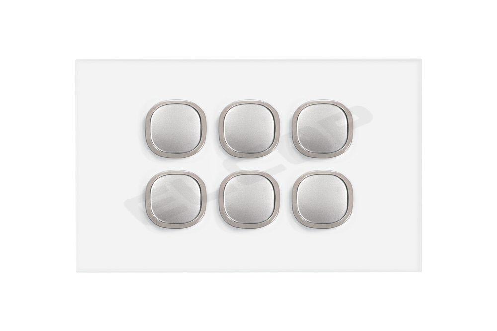 6 Gang Glass Push Button Blue LED Switch | Sapphire Series
