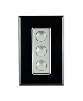 Triple Gang Switch   Crystal Black on Silver