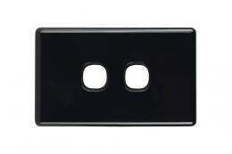 Double Gang Plate | Slimline Black