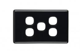5 Gang Plate | Slimline Black