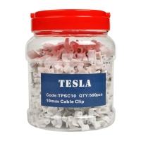 10mm TPS Flat White Cable Clips with Nails (Jars of 500pcs)