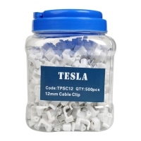 12mm TPS Flat White Cable Clips with Nails (Jars of 500pcs)