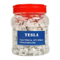 14mm TPS Flat White Cable Clips with Nails (Jars of 250pcs)