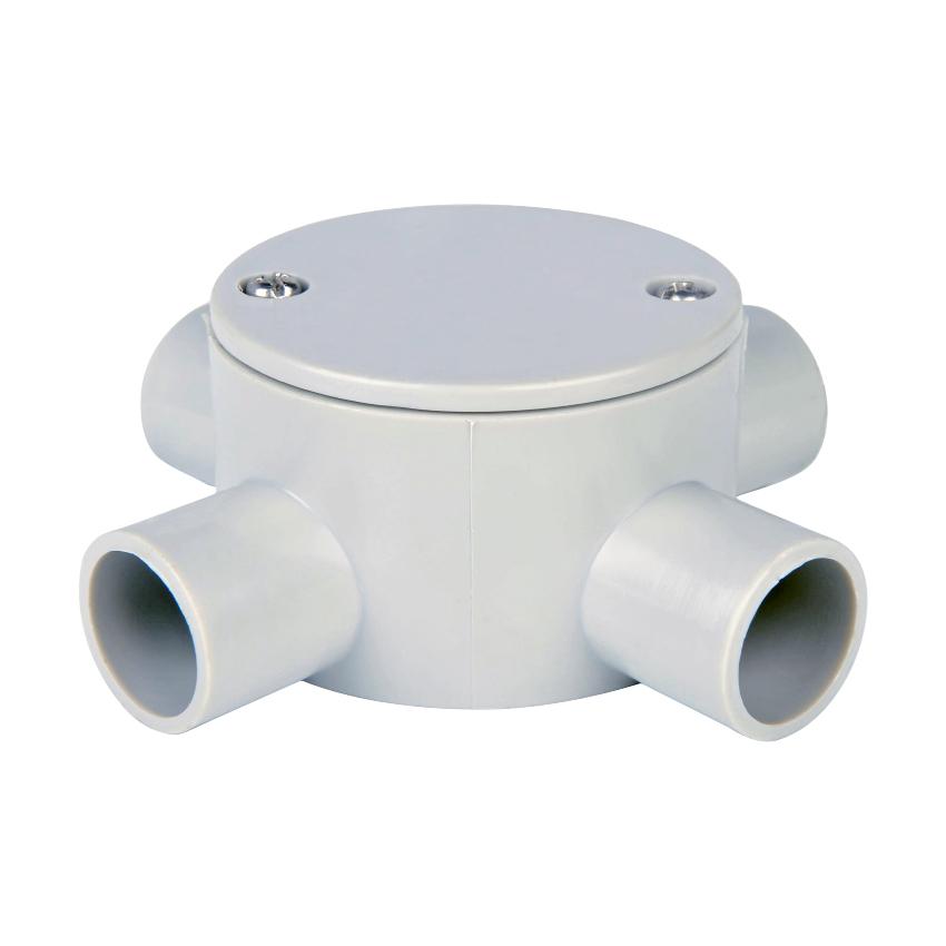 Circular Shallow J-Box 4 Way Entry 25mm