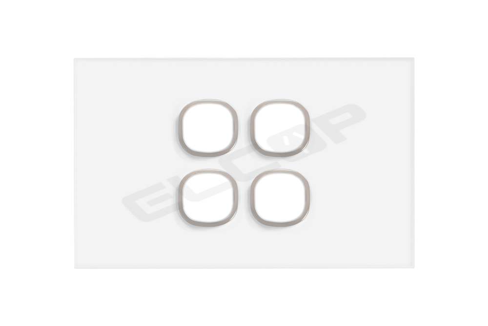 4 Gang Glass Switch Plate | Sapphire Series