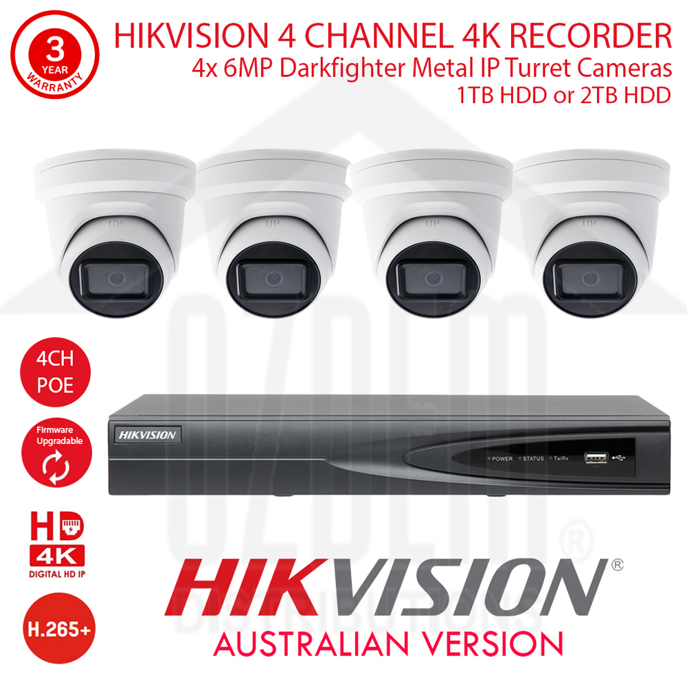 HIKVISION 4 Channel 4K NVR Kit with 4x 6MP WDR 30m IR 2.8mm Fixed White Metal Dome Turret Cameras & 1TB or 2TB HDD