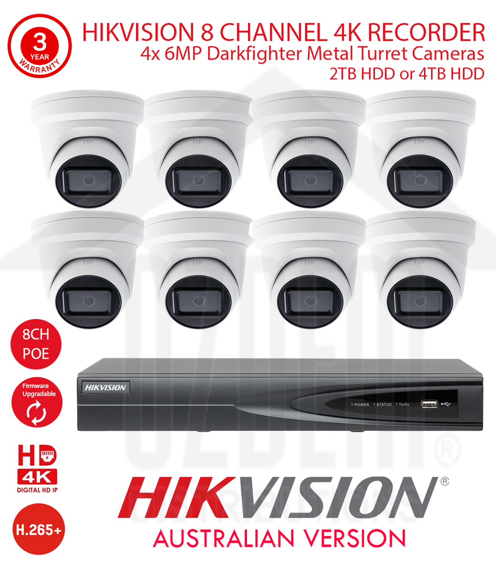 HIKVISION 8 Channel 4K NVR Kit with 8x 6MP WDR 30m IR 2.8mm Fixed White Metal Dome Turret Cameras & 2TB or 4TB HDD
