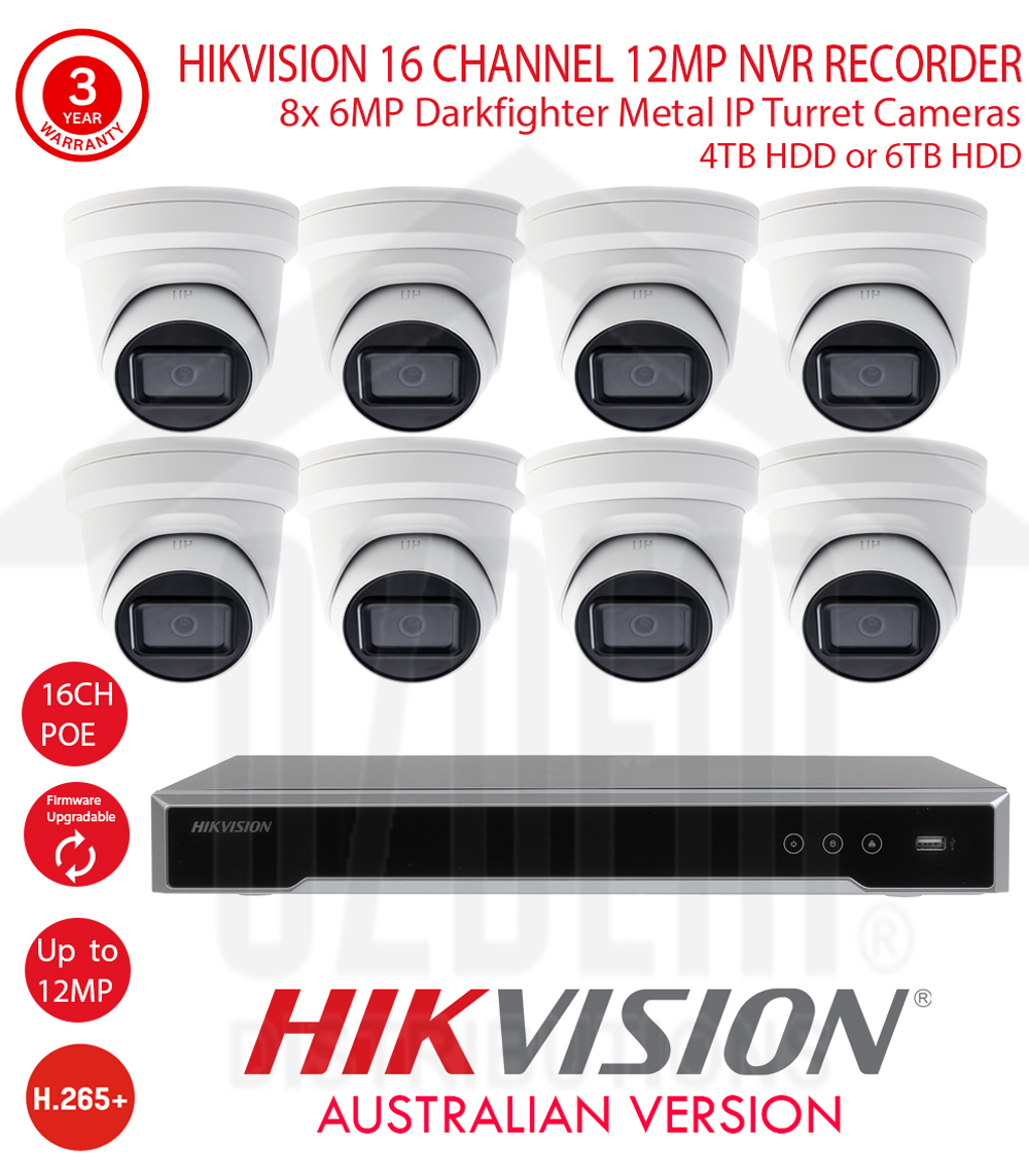 HIKVISION 16 Channel 12MP NVR Kit with 8x 6MP WDR 30m IR 2.8mm Fixed White Metal Dome Turret Cameras & 4TB HDD or 6TB HDD