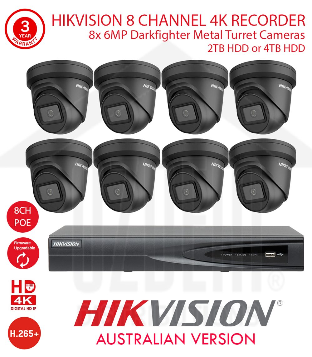 HIKVISION 8 Channel 4K NVR Kit with 8x 6MP WDR 30m IR 2.8mm Fixed Black Metal Dome Turret Cameras & 2TB HDD or 4TB HDD
