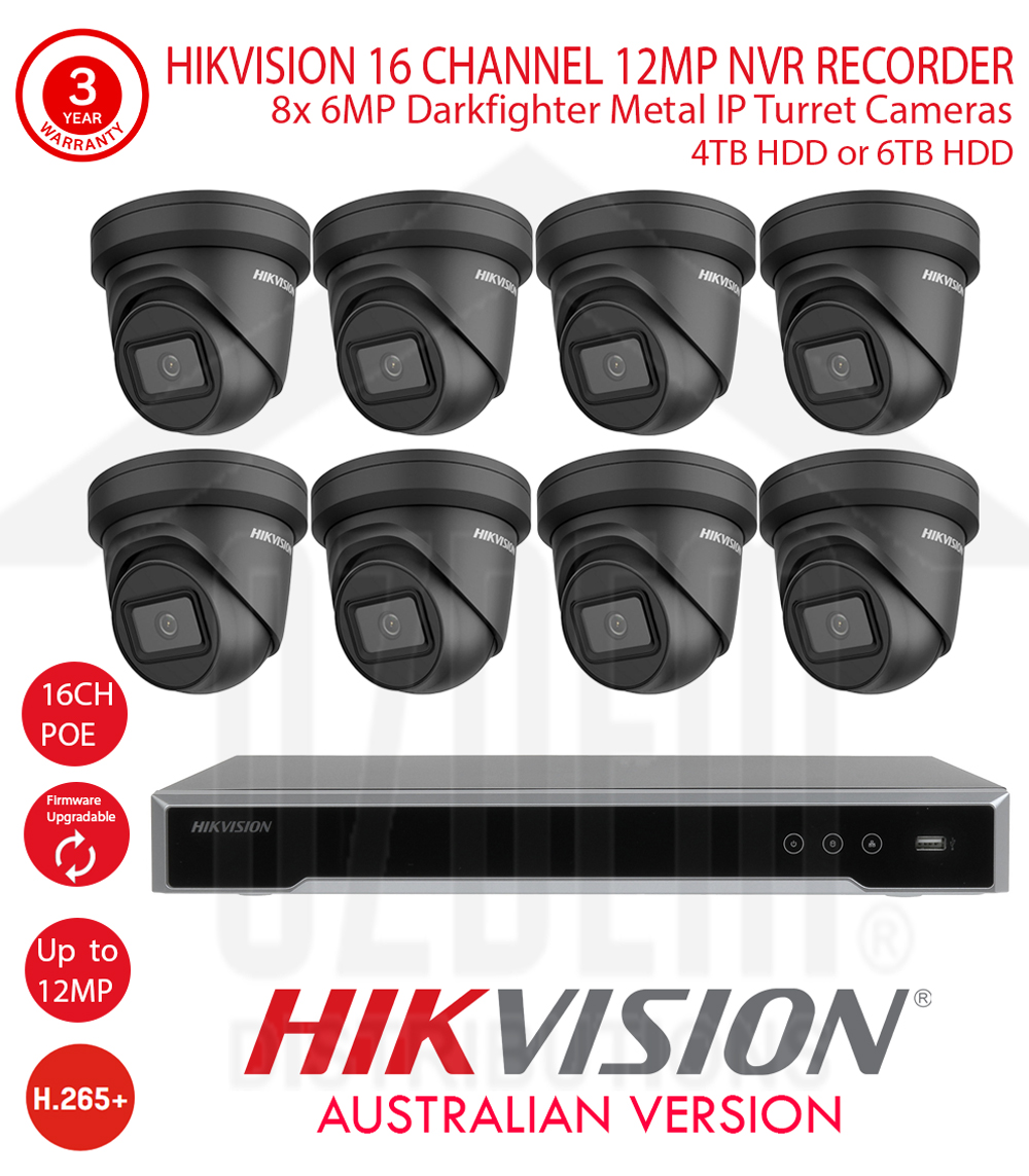 HIKVISION 16 Channel 12MP NVR Kit with 8x 6MP WDR 30m IR 2.8mm Fixed Black Metal Dome Turret Cameras & 4TB or 6TB HDD