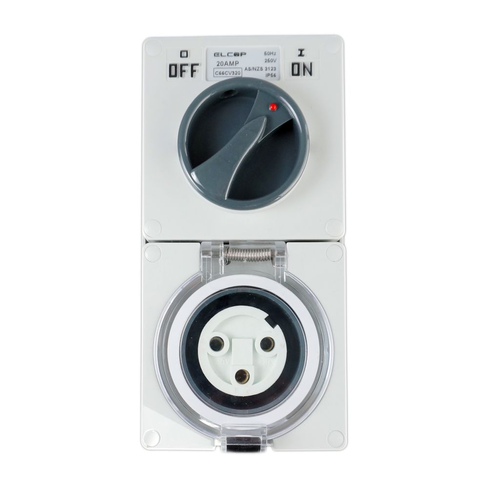 3 Round PIN 20A Switched Socket 250V IP56 | Elcop
